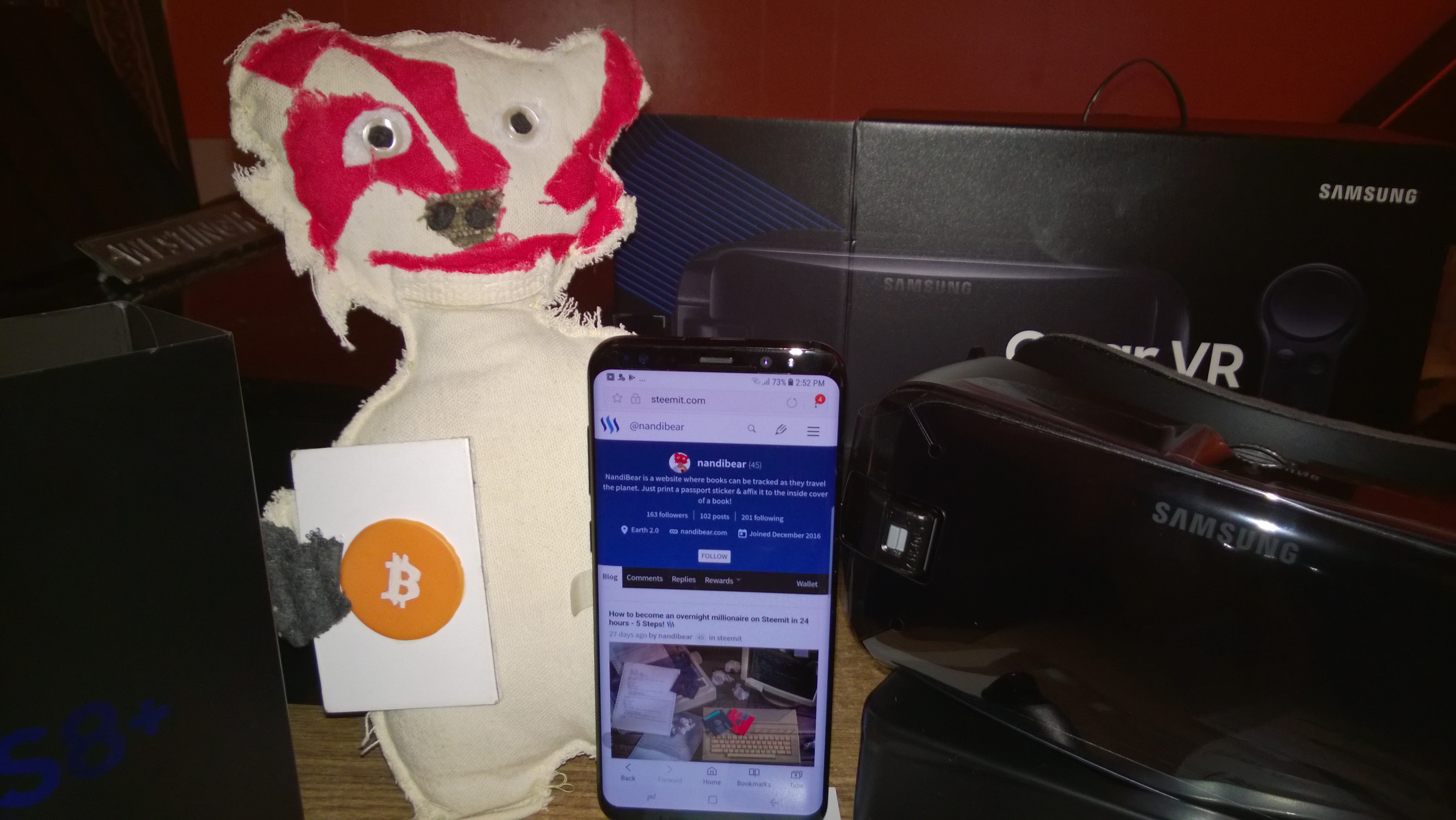 Nandi Bear and his new Samsung Galaxy s8 PLUS US unlocked and Gear VR virtual reality headset with controller Nandibear