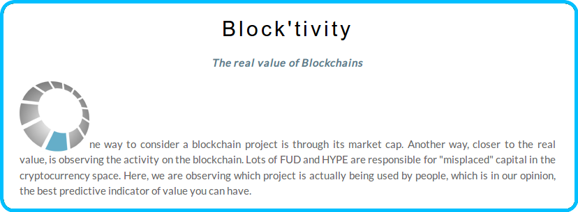 Blocktivity.info - The other face of the Blockchain and perhaps the real value of Blockchains versus market capitalization