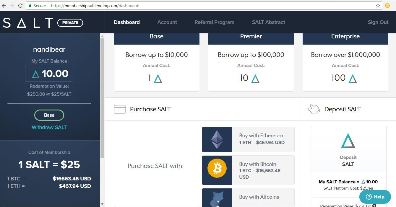 salt coin nandibear bitcoin nandibear.com saltlending.com platform account luke