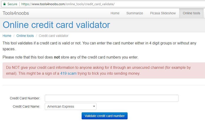 free online credit card validator displays hidden information helps ascertain if the person. Black Bedroom Furniture Sets. Home Design Ideas
